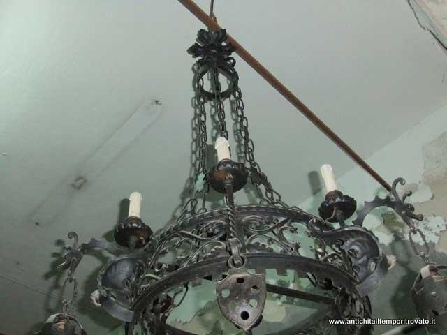 ebay lampadari antichi : Lampadario In Ferro Battuto Antico : ... lampadario antico in ferro ...