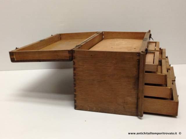 Oggettistica d`epoca - Oggetti in legno - Antica valigia portatile da ...