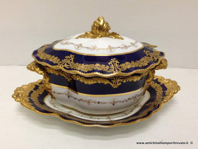 Zuppiera Royal Crown Derby - Zuppiera blu cobalto e oro