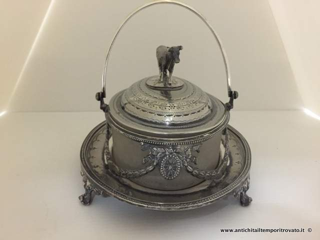 Sheffield d`epoca - Sheffield e Silver plate - Antico portaburro in Britannia metal - Immagine n°5
