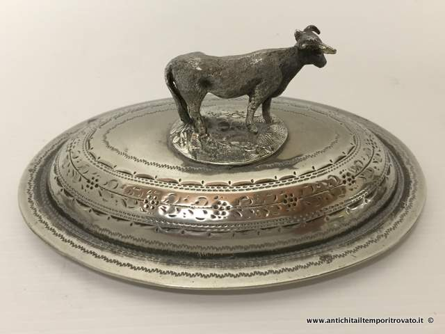 Sheffield d`epoca - Sheffield e Silver plate - Antico portaburro in Britannia metal - Immagine n°7