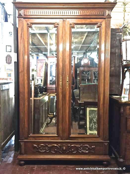 Antico armadio porta biancheria - Armadio francese in massello di noce