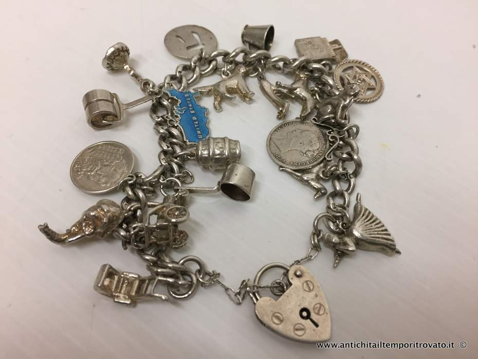Bracciale inglese con charms - Bracciale vintage in argento inglese