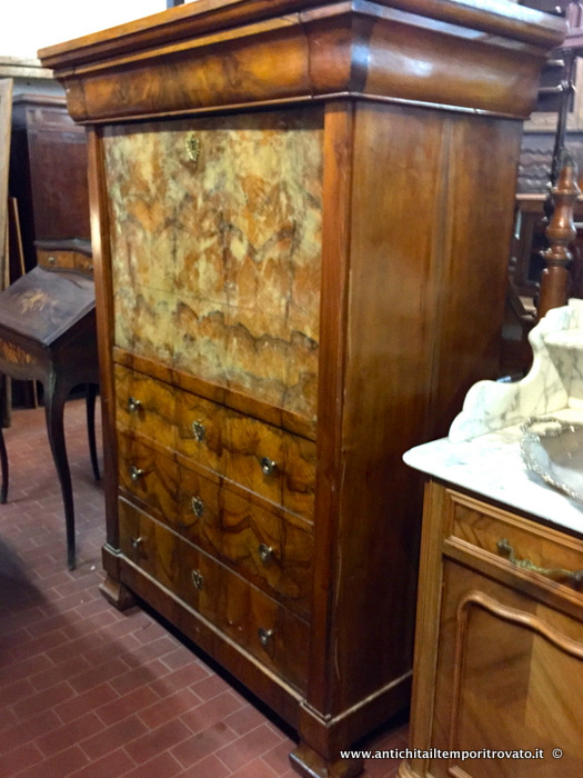 Grande secretaire tedesco d`epoca - Secretaire tedesco dell`800 in radica di noce